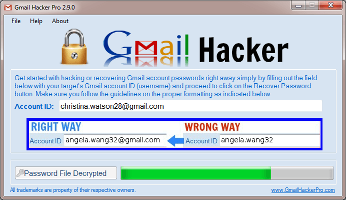 Gmail Hacker Pro - Gmail Password Hacking Software